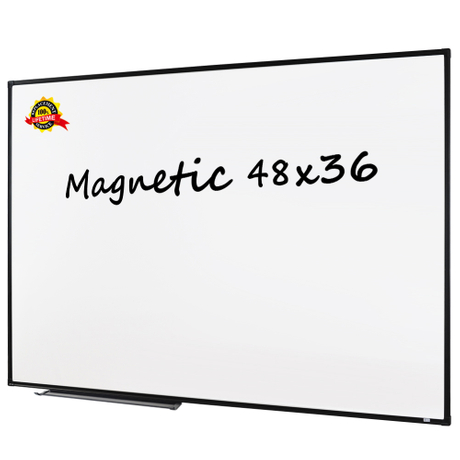 Lockways Magnetic Whiteboard White Board - Dry Erase Board 48 x 36, 3 Dry Erase Markers, 8 Magnets, Black Aluminium Frame for Home, Office, School