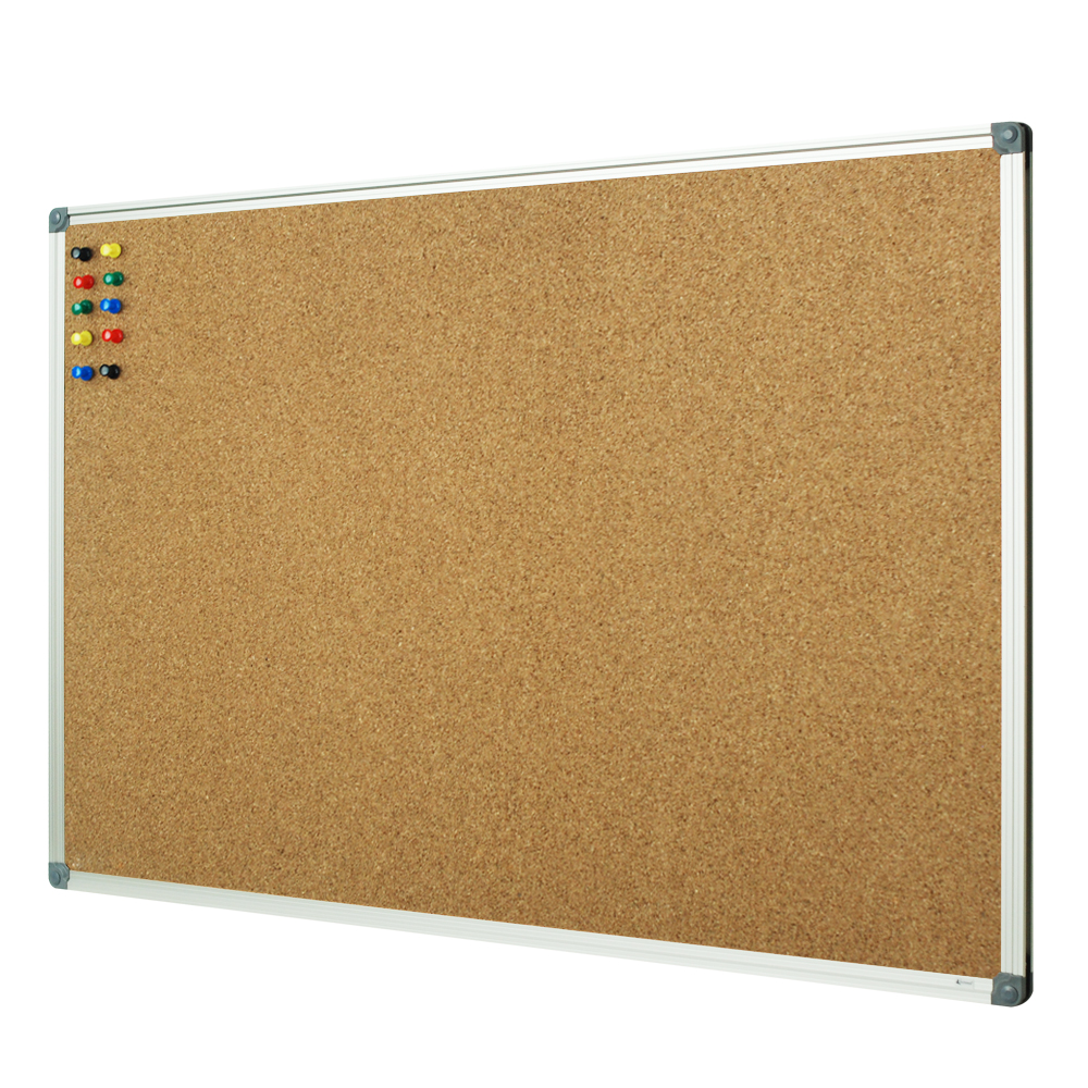 Lockways Cork Board Bulletin Board - Double Sided Corkboard 36 X 24 Notice Board 3 X 2 - Silver Aluminium Frame U12118762609 for School, Home & Office (Set Including 10 Push Pins) (24 x 36, Silver)