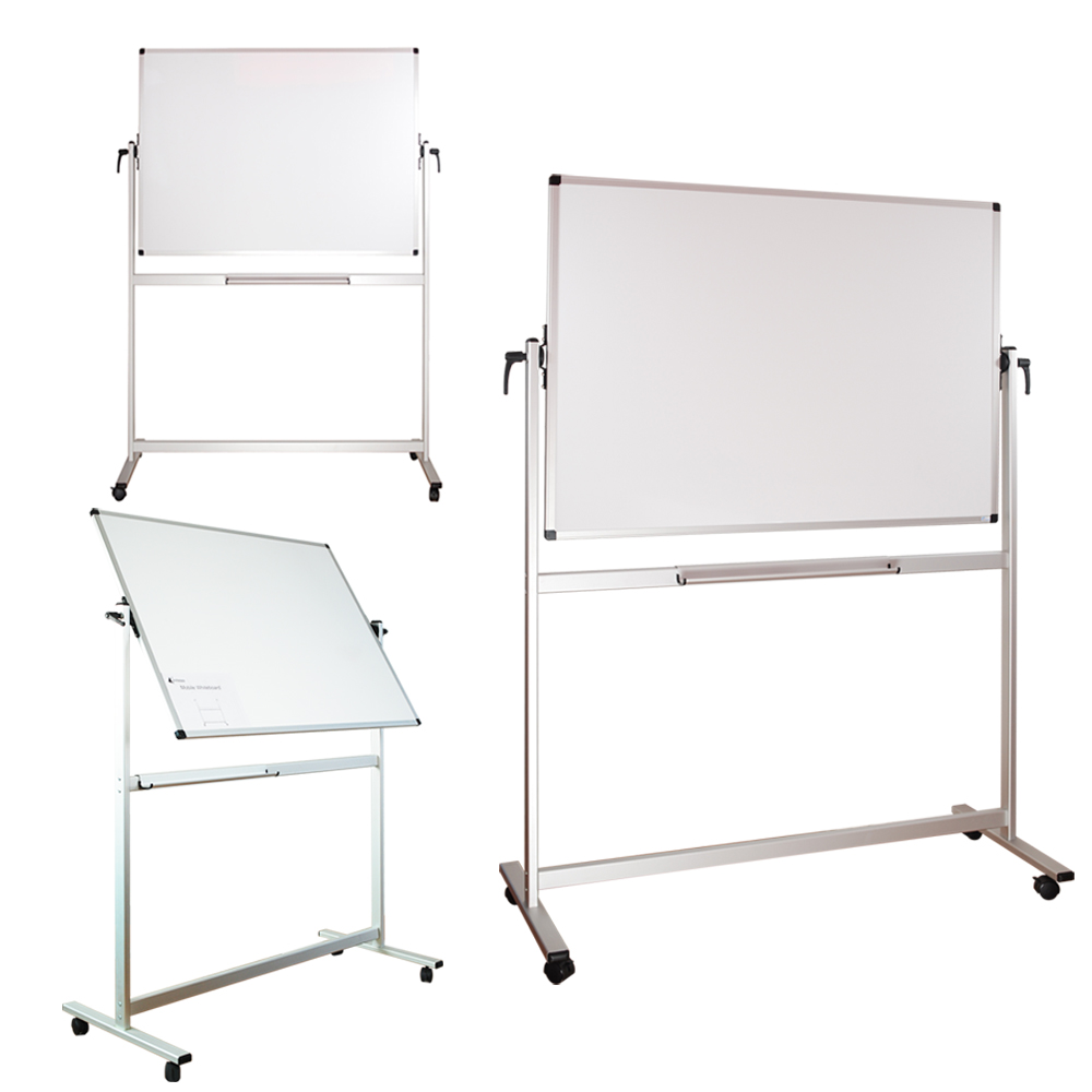 Lockways Reversible Magnetic Mobile Whiteboard - 48 x 36 Double Sided Dry Erase Whiteboard, Office Dry Erase Board 3 X 4, Anti-Scratch Aluminum Frame for Office & School