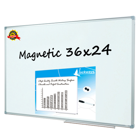 Lockways Magnetic Dry Erase Board - Magnetic Whiteboard/White Board 36 x 24 Inch, 1 Dry Erase Markers, 2 Magnets for School, Home, Office