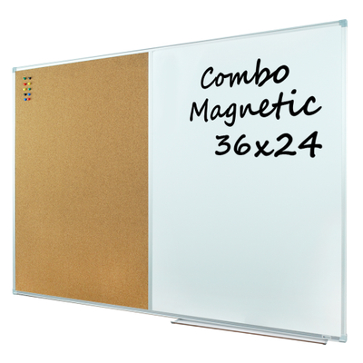 Lockways Dry Erase Board & Cork Bulletin Board Combination - 36 x 24 Inch Magnetic Whiteboard & Corkboard, 3 x 2 Feet, Ultra-Slim Silver Aluminium Frame (36''x 24'', Sliver)